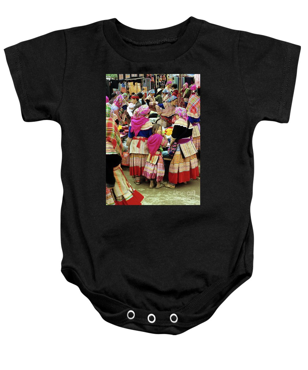 Vietnam Baby Onesie featuring the photograph Flower Hmong Girl 01 by Rick Piper Photography