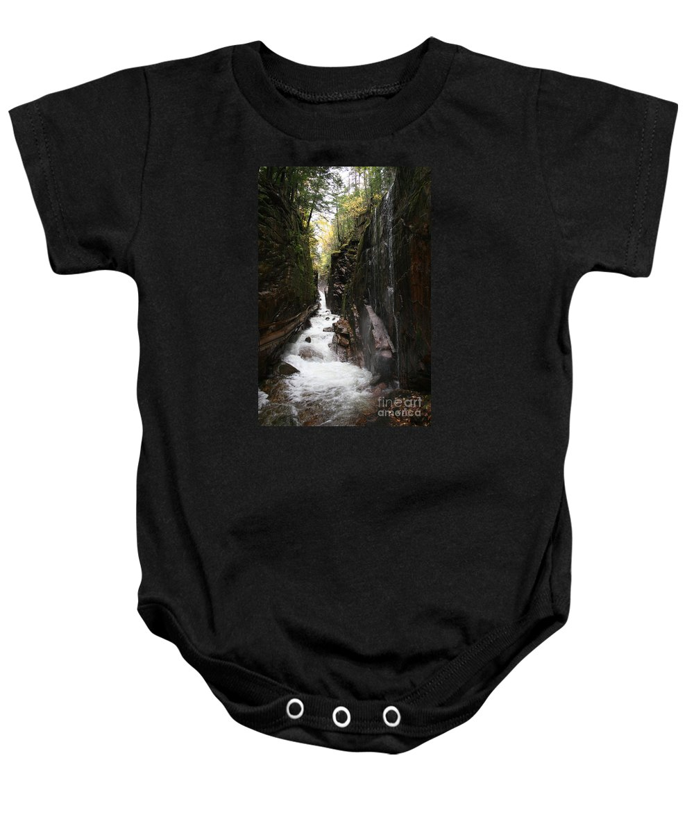 Franconia Notch Baby Onesie featuring the photograph Flume Gorge Franconia Notch by Christiane Schulze Art And Photography
