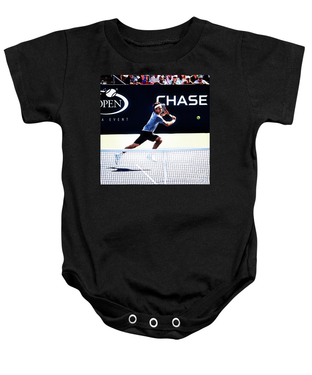Roger Federer Baby Onesie featuring the photograph Flying Federer by Nishanth Gopinathan