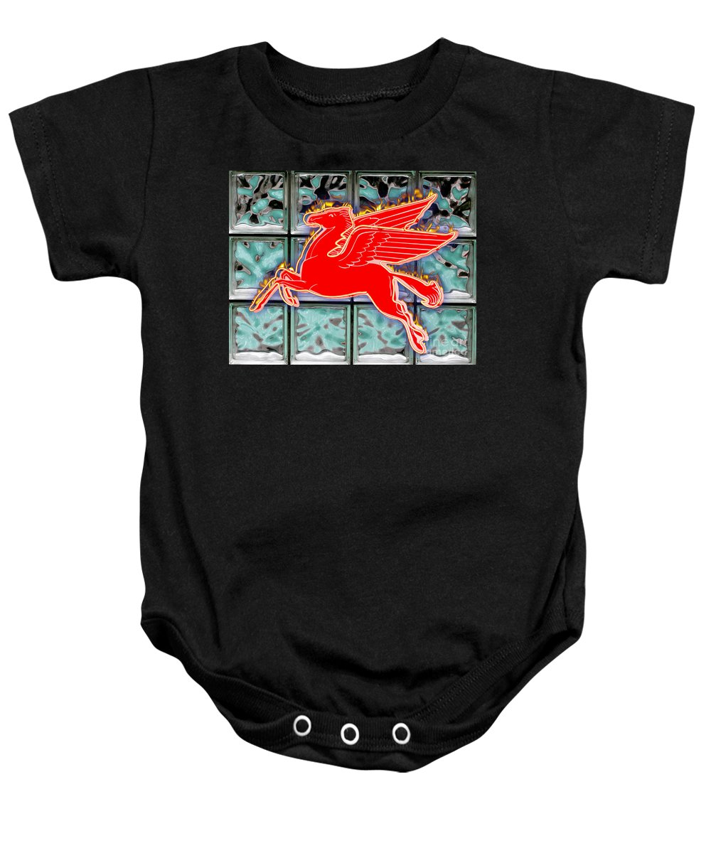 Red Baby Onesie featuring the digital art Flying Fire Horse by Keith Dillon