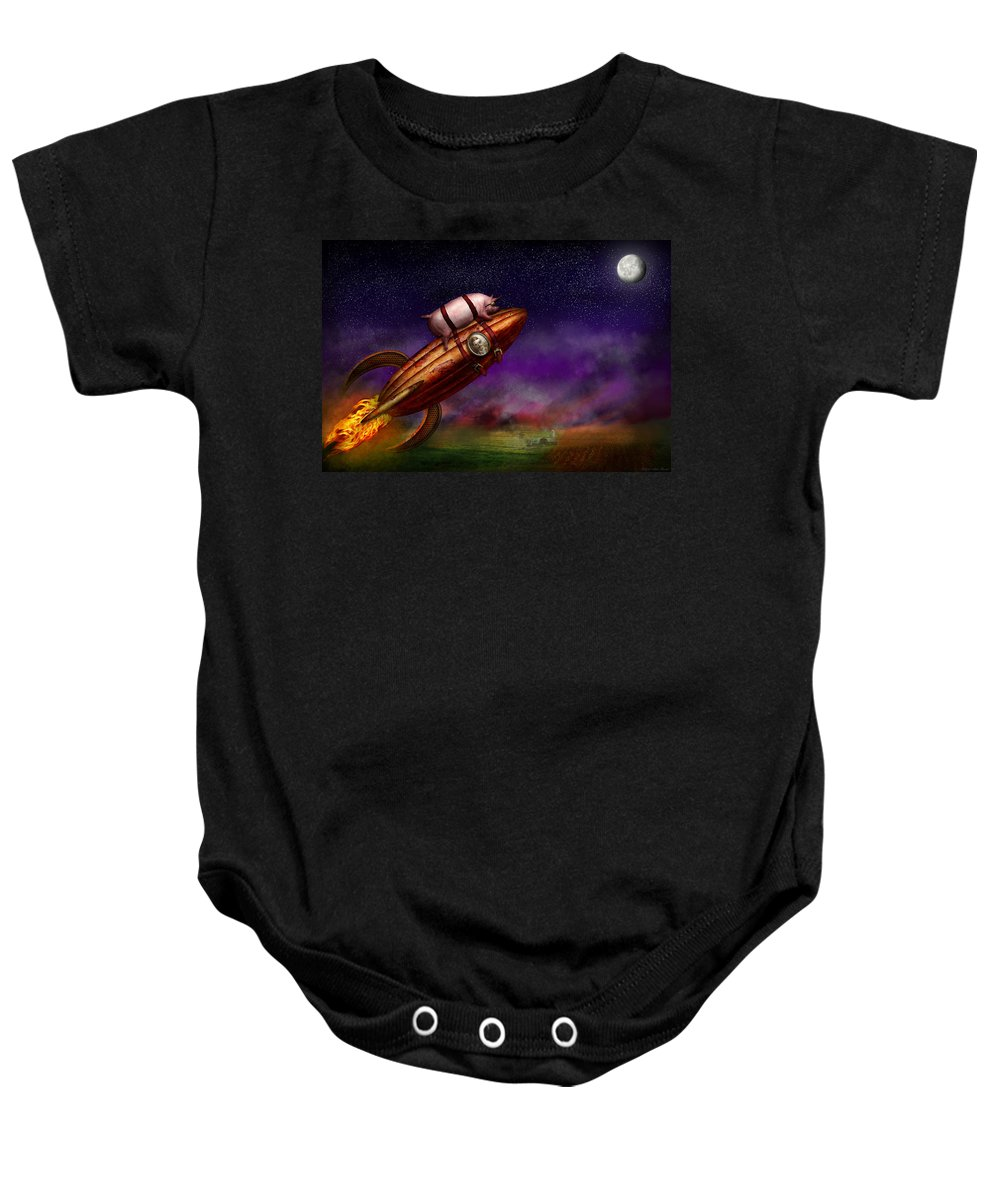 Pig Baby Onesie featuring the photograph Flying Pig - Rocket - To The Moon Or Bust by Mike Savad