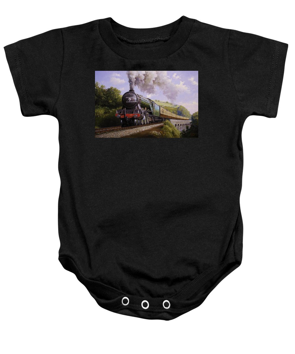 Art For Investment Baby Onesie featuring the painting Flying Scotsman On Broadsands Viaduct. by Mike Jeffries