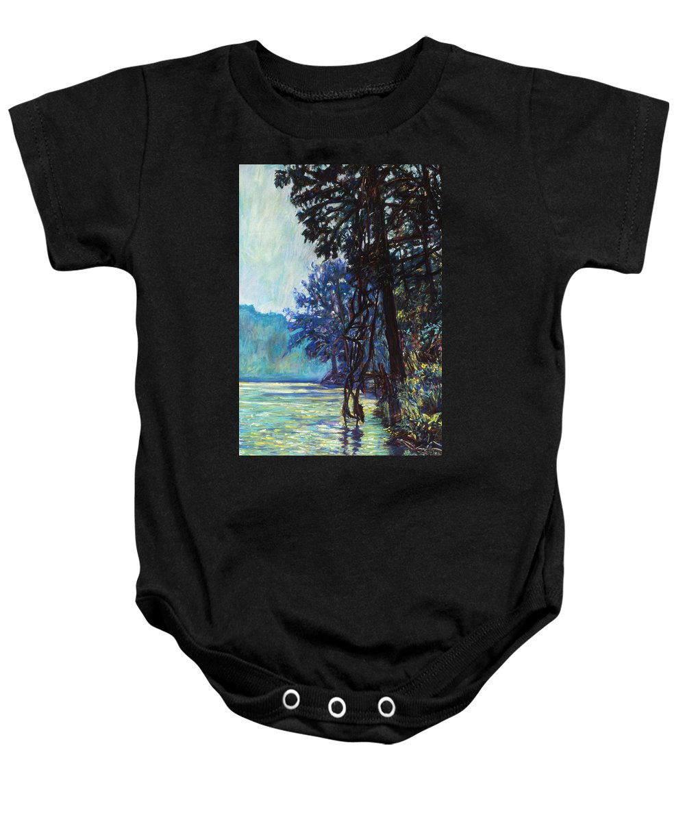 Kendall Kessler Baby Onesie featuring the painting Fog On The New River by Kendall Kessler