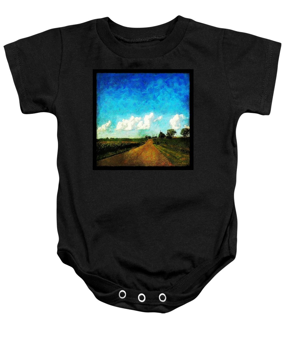 Clouds Baby Onesie featuring the painting Follow The Leader by Sandy MacGowan
