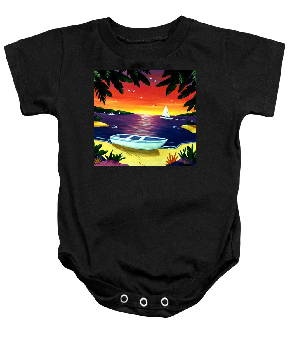 Sunset Baby Onesie featuring the painting Footprints In Paradise by Lance Headlee