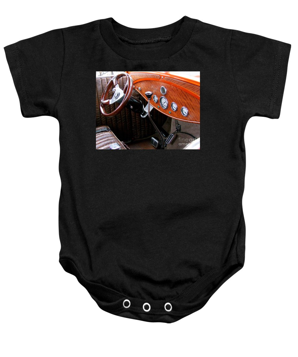Ford V8 Baby Onesie featuring the photograph Ford V8 Dashboard by Mary Deal