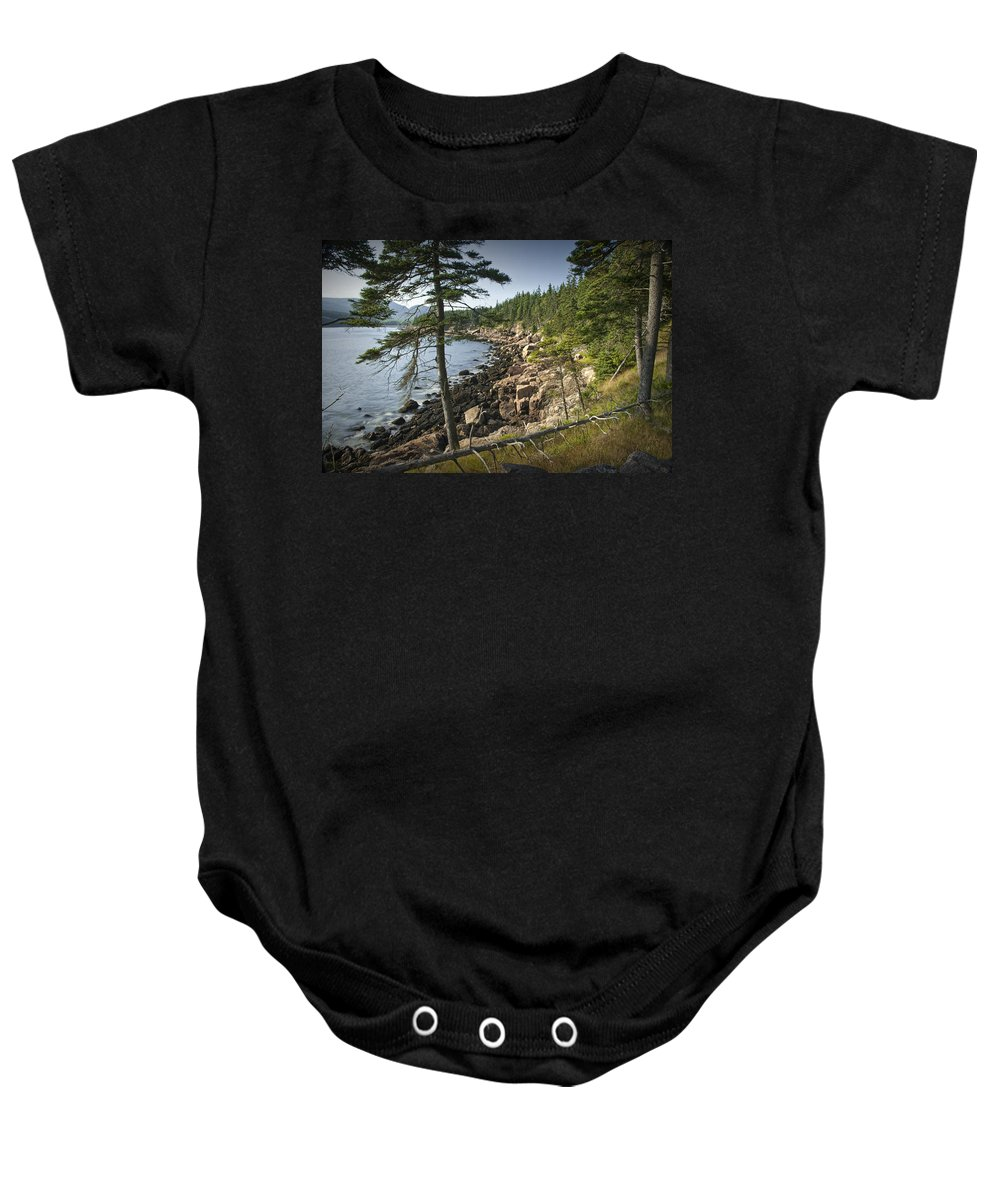 Art Baby Onesie featuring the photograph Forest And Rocky Shore In Acadia National Park by Randall Nyhof