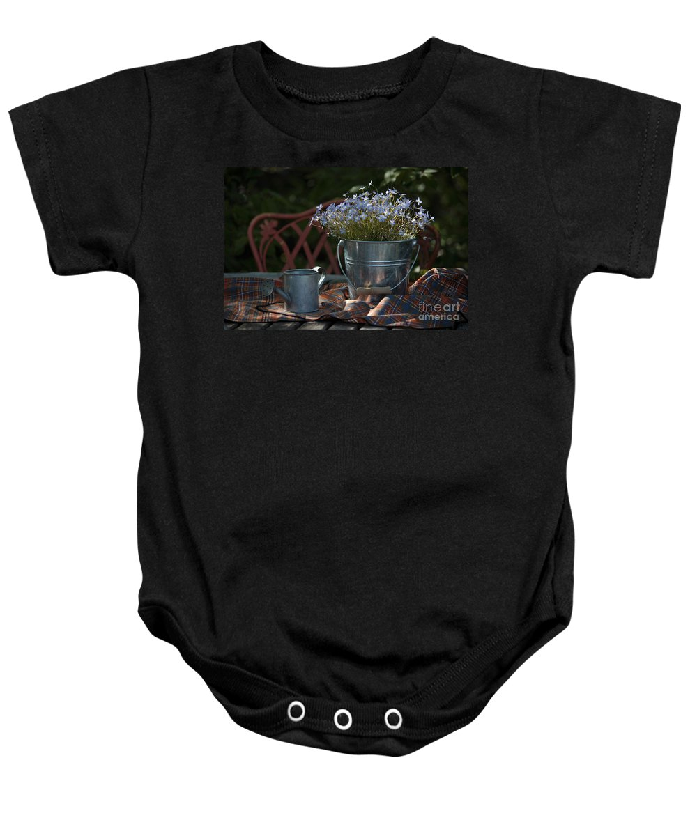 Watering Can Baby Onesie featuring the photograph Forget-me-nots And Small Watering Can by Luv Photography