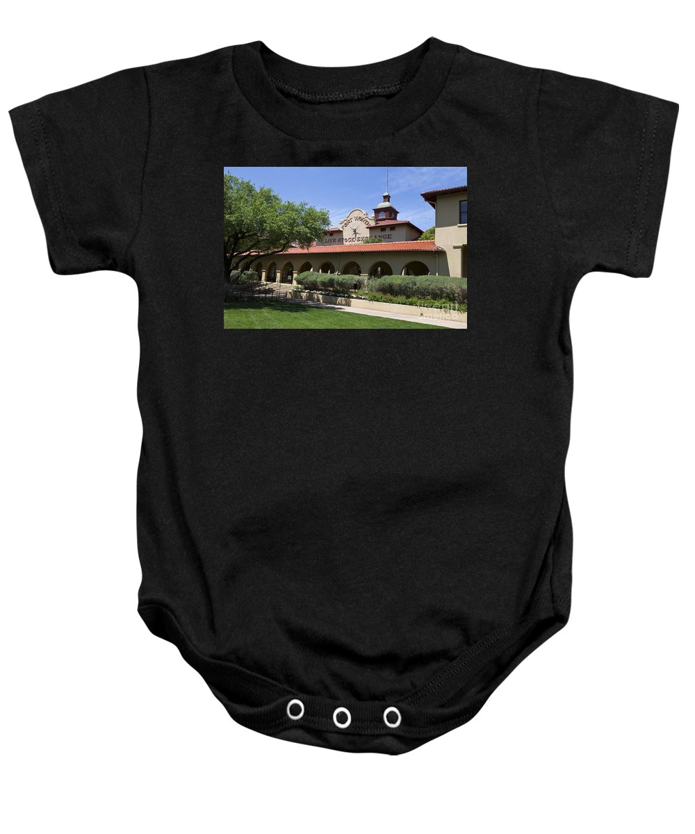 Fort Worth Baby Onesie featuring the photograph Fort Worth Livestock Exchange Texas by Jason O Watson