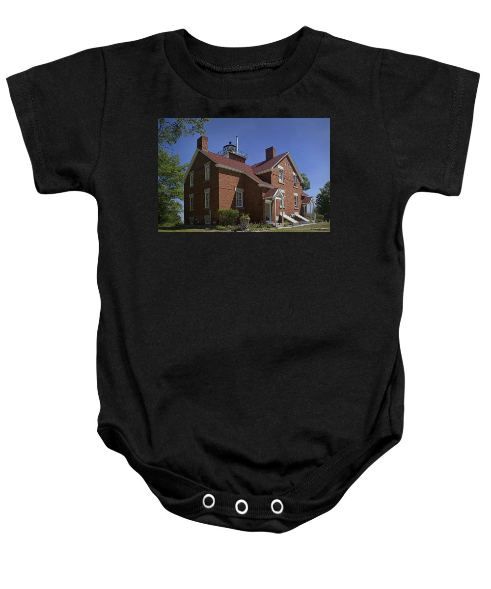 Art Baby Onesie featuring the photograph Forty Mile Point Lighthouse In Michigan Number 417 by Randall Nyhof