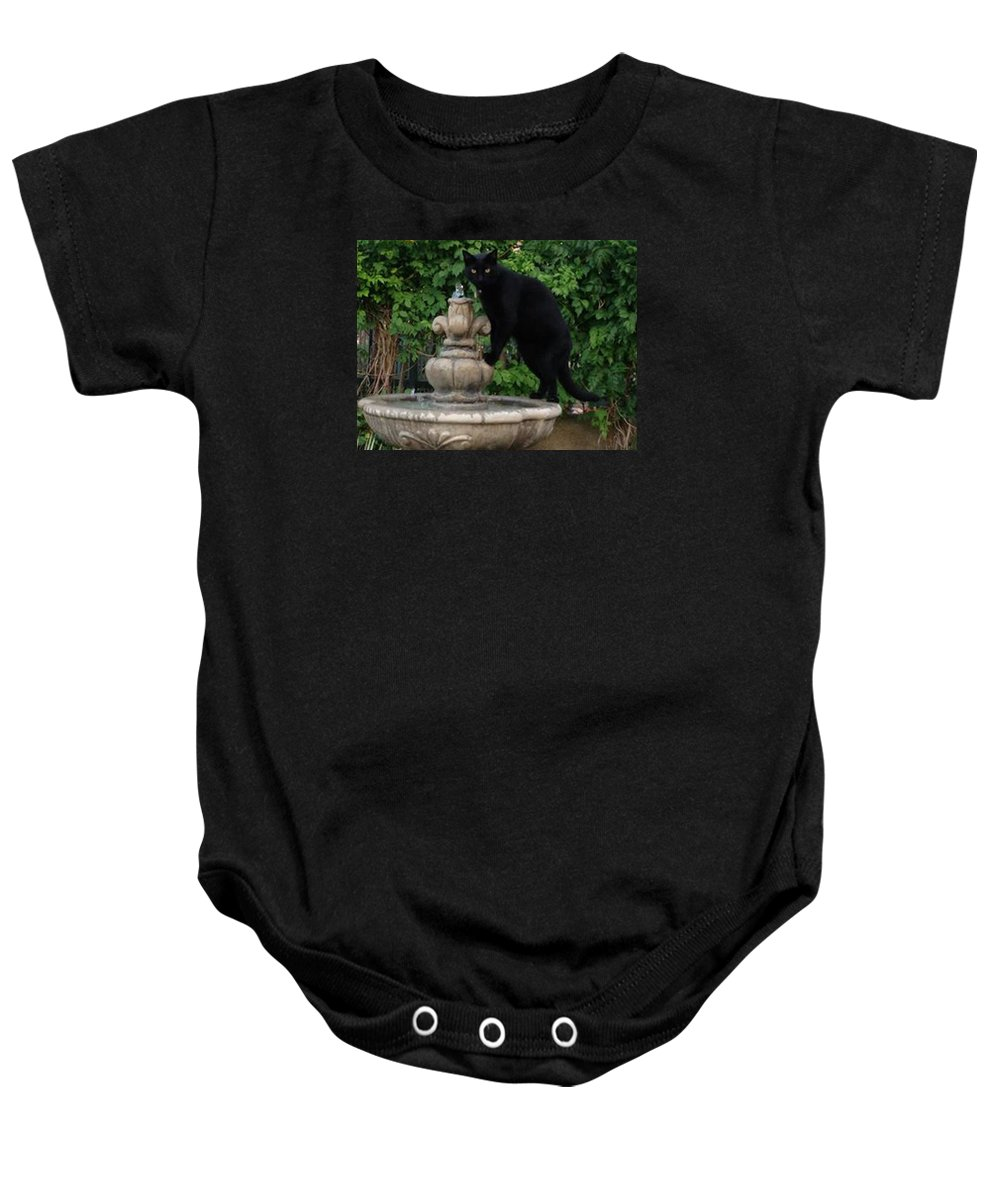 Cat Baby Onesie featuring the photograph Fountain Cat by Alison Stein