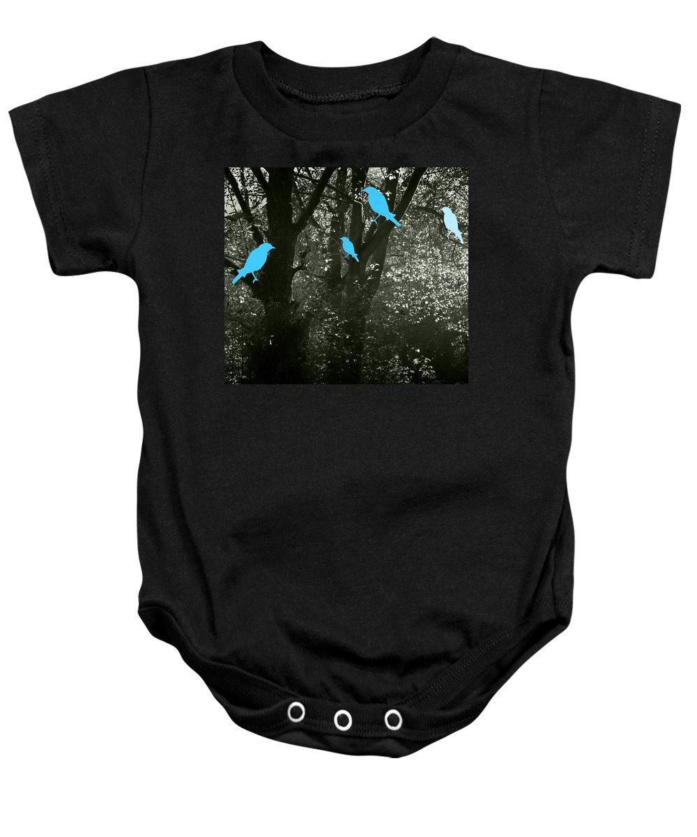 Landscape Baby Onesie featuring the photograph Four Birds by Kathleen Grace