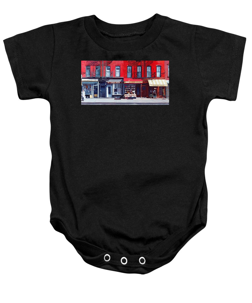 Shopfronts Baby Onesie featuring the painting Four Shops On 11th Ave by Anthony Butera
