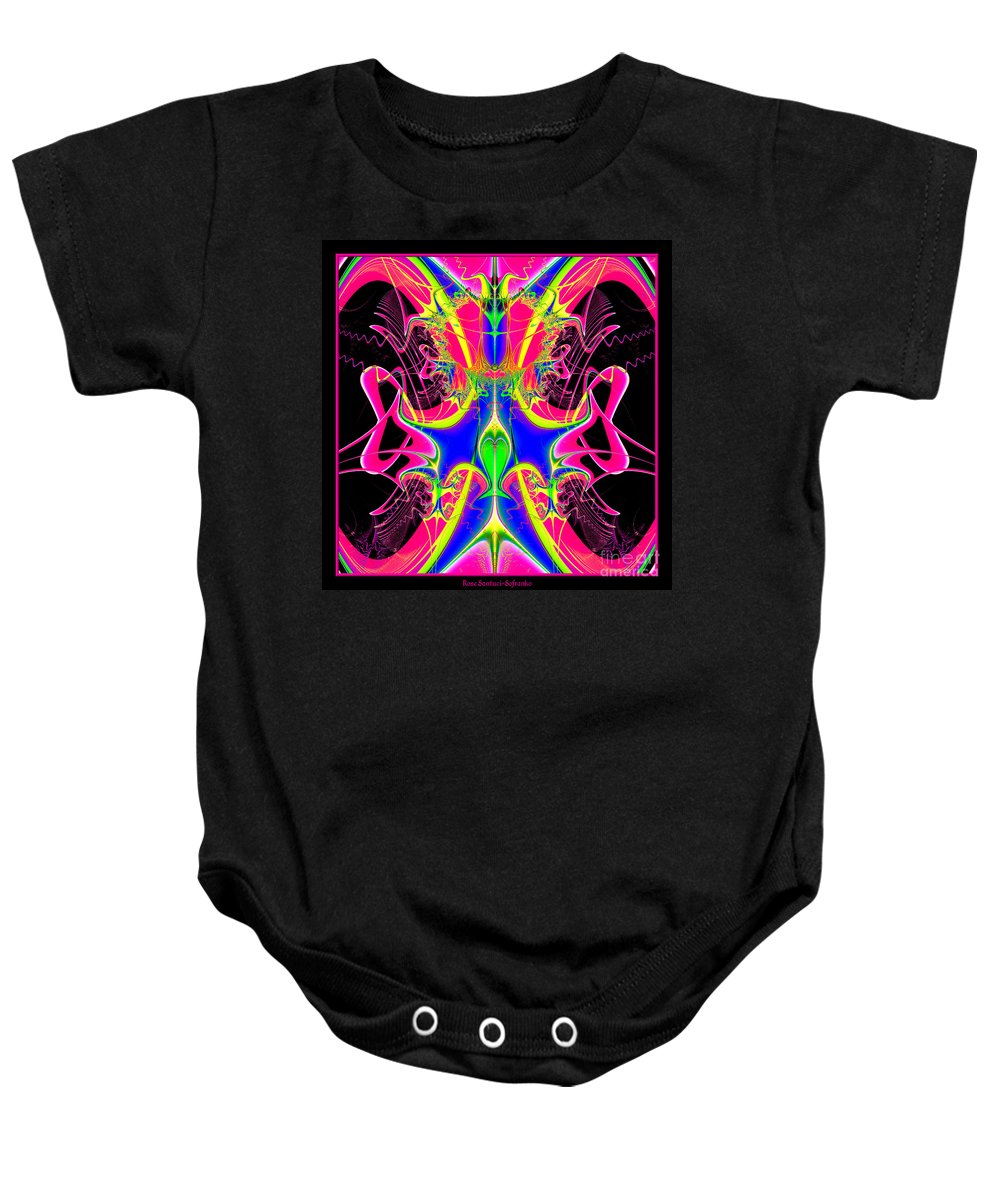 Cacophony Baby Onesie featuring the digital art Fractal 15 Color Cacophony by Rose Santuci-Sofranko
