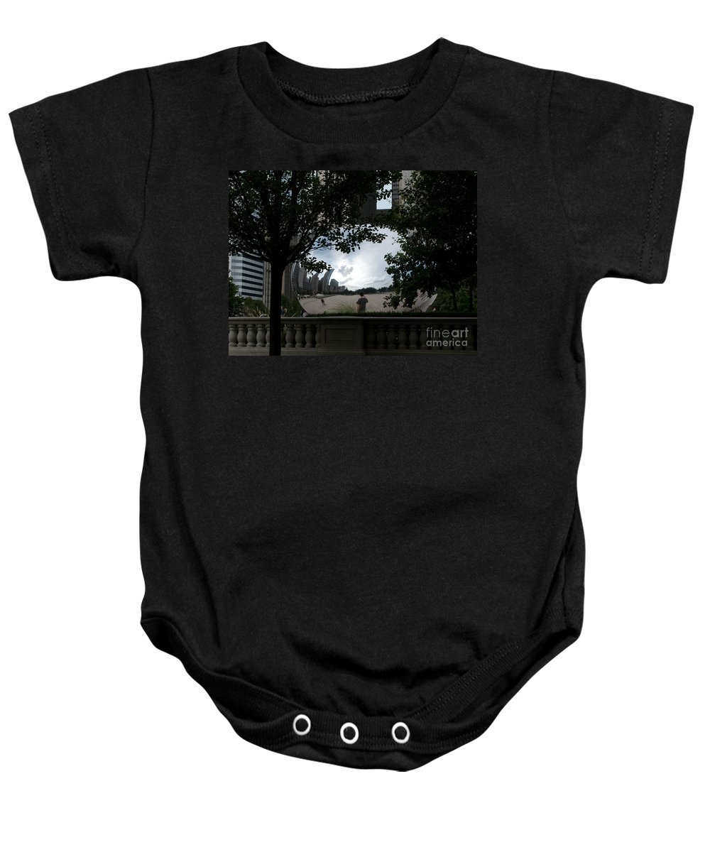 Chicago Baby Onesie featuring the photograph Framing Cloudgate by Ann Horn
