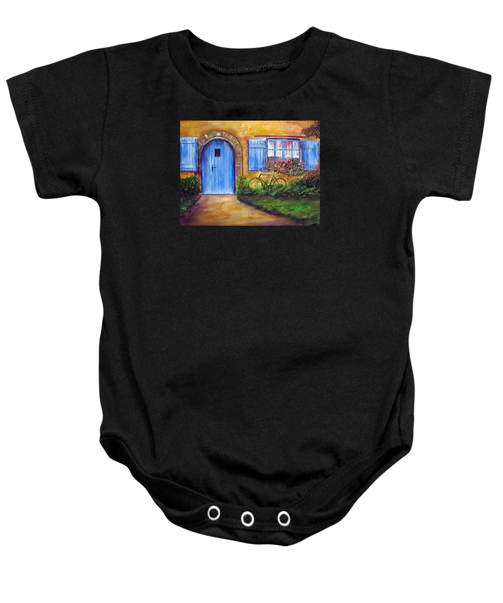 French Baby Onesie featuring the painting French Cottage by Loretta Luglio