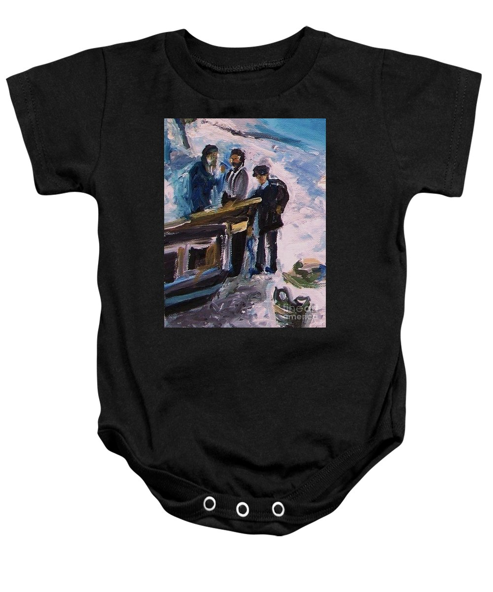 Floral Baby Onesie featuring the painting French Fishermen At Beach At Sainte Adresse by Eric Schiabor