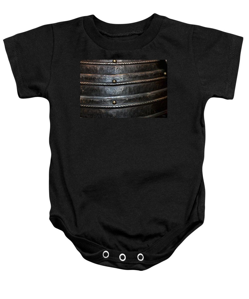 Black Baby Onesie featuring the photograph French Monarchy Steel by Evie Carrier