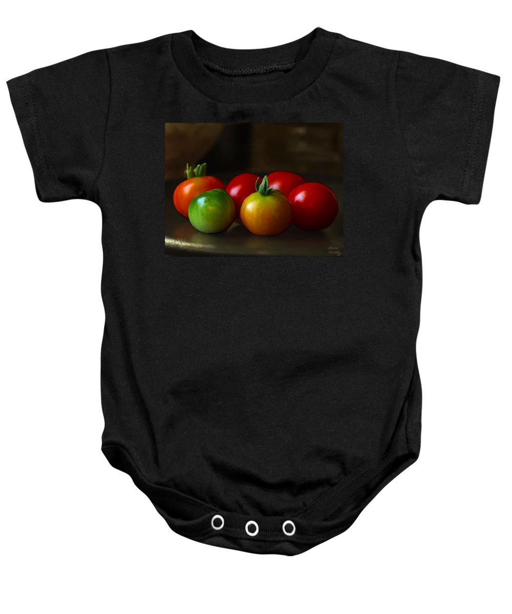 Red Baby Onesie featuring the painting Fresh Tomatoes by Bruce Nutting
