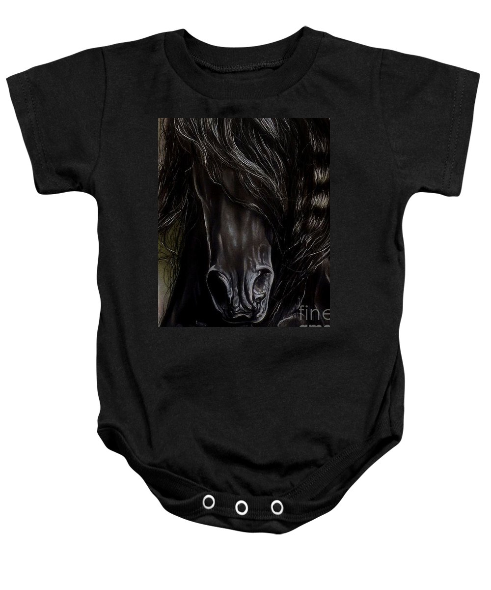 Horse Baby Onesie featuring the painting Friesian Power by Caroline Collinson