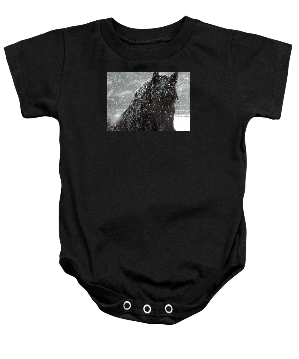 Horses Baby Onesie featuring the photograph Friesian Snow by Fran J Scott