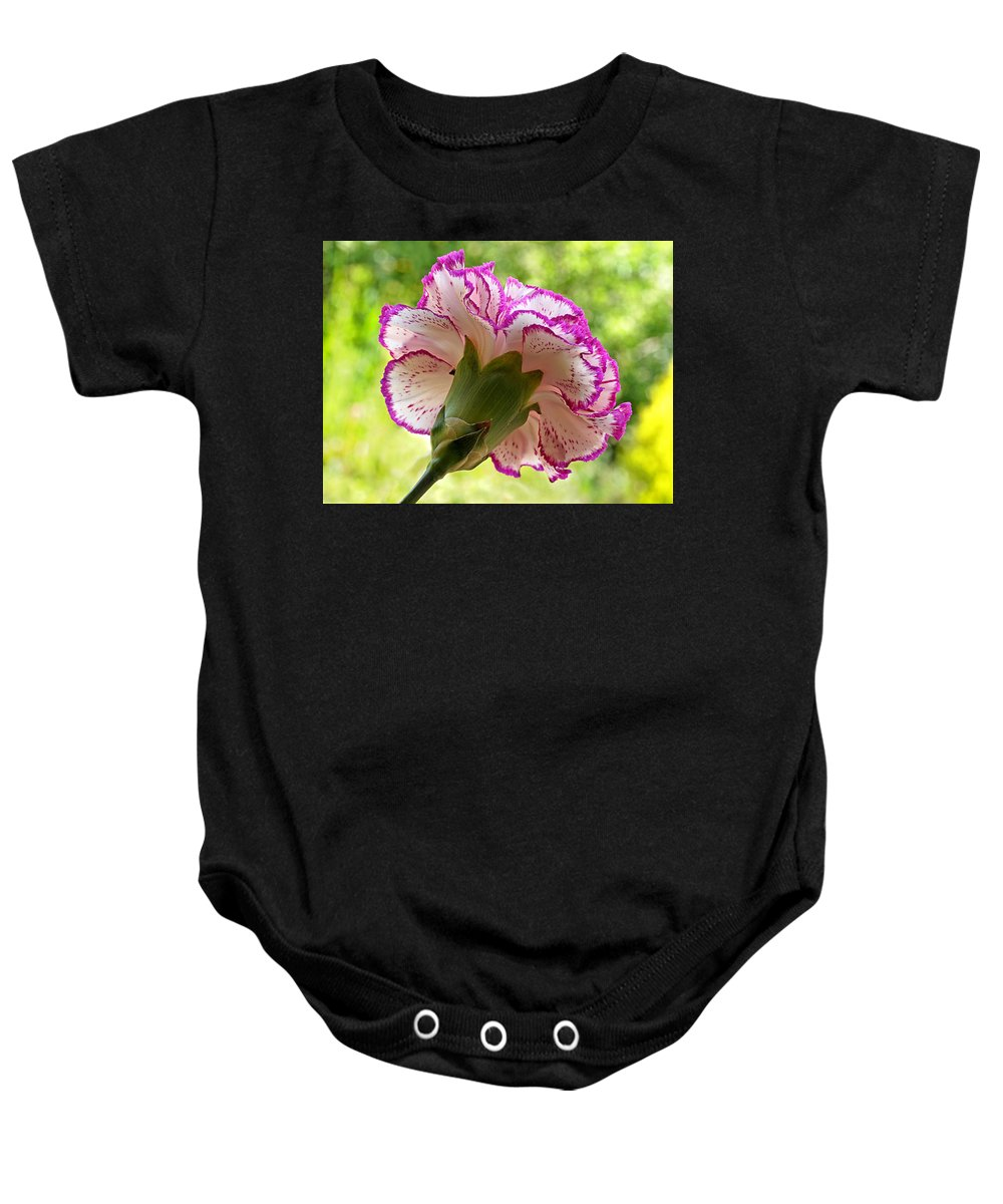 Pink Flower Baby Onesie featuring the photograph Frilly Carnation by Gill Billington