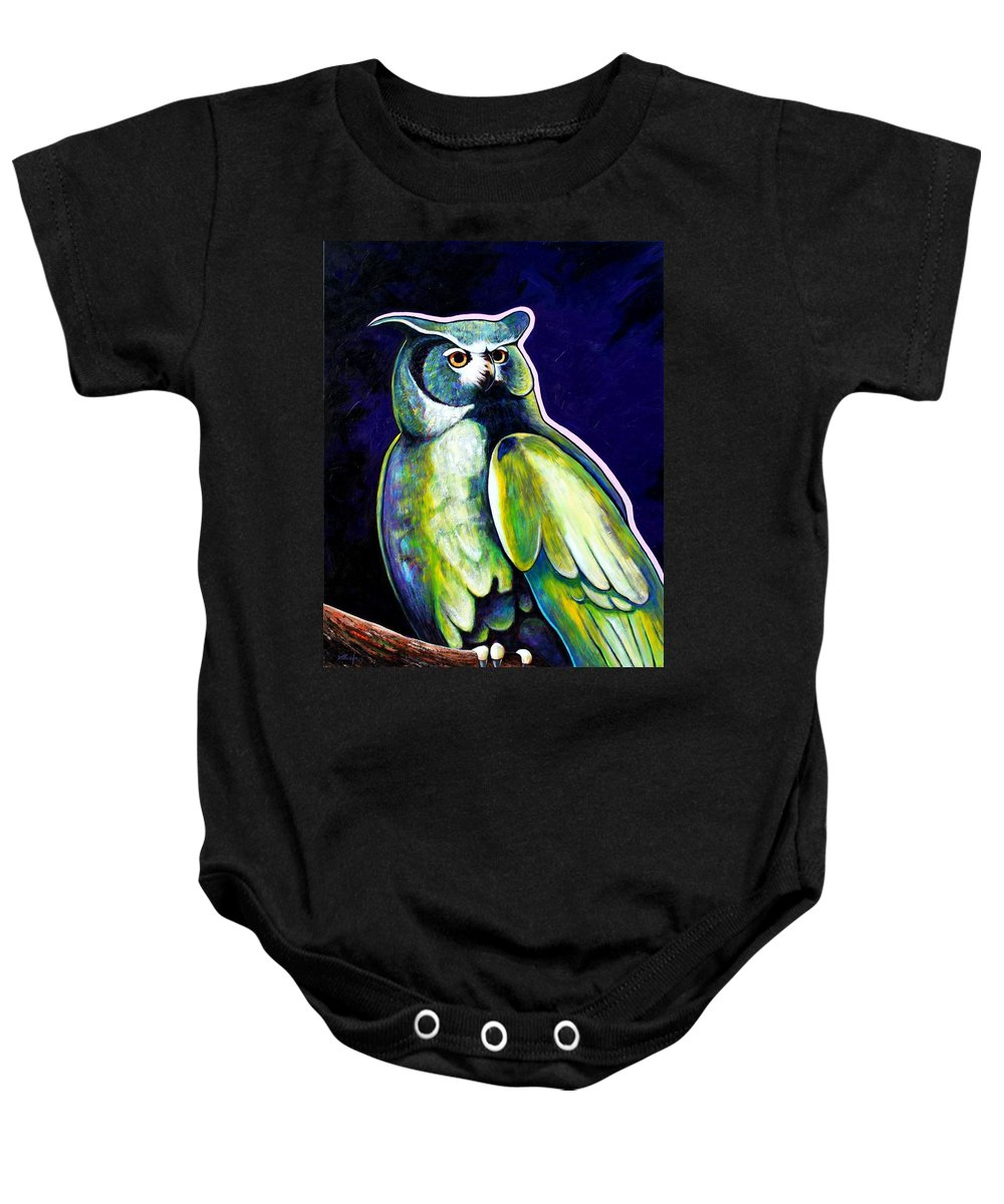Owl Baby Onesie featuring the painting From The Shadows by Joe Triano