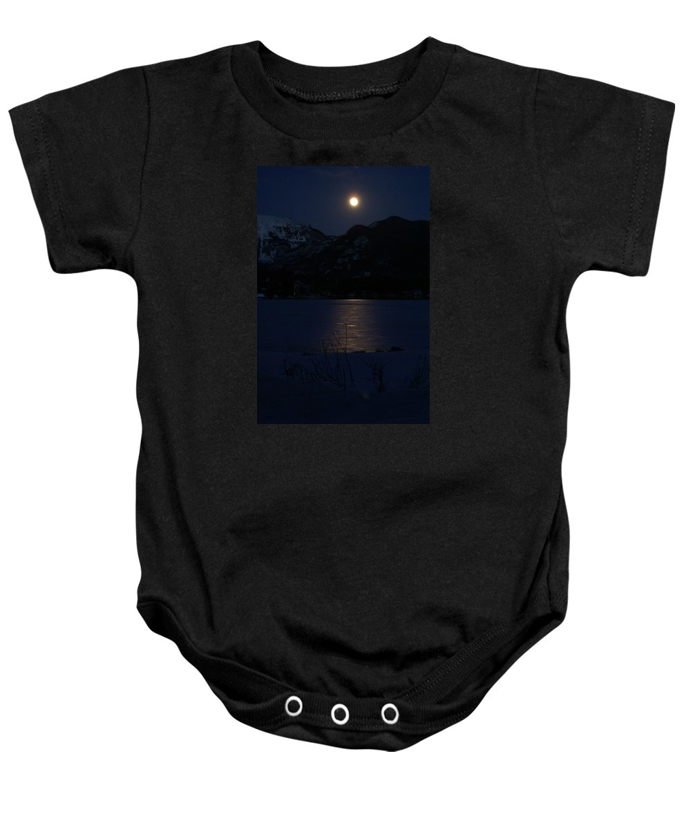 Full Moon Baby Onesie featuring the photograph Full Moon On Shadow Mountain Lake II by Jacqueline Russell