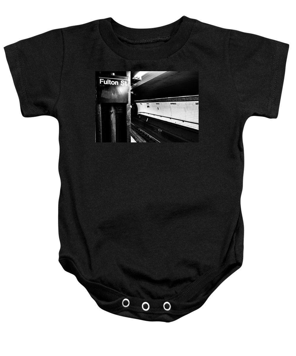 Manhattan Baby Onesie featuring the photograph Fulton St by Digital Kulprits