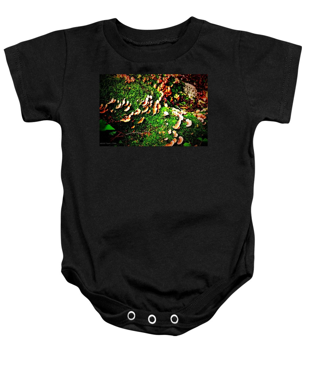Fungi Baby Onesie featuring the photograph Fungus Among Us by Tara Potts