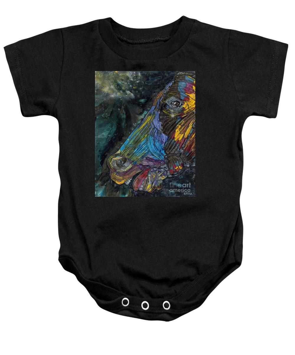 Horse Baby Onesie featuring the painting Fury by Kasha Ritter
