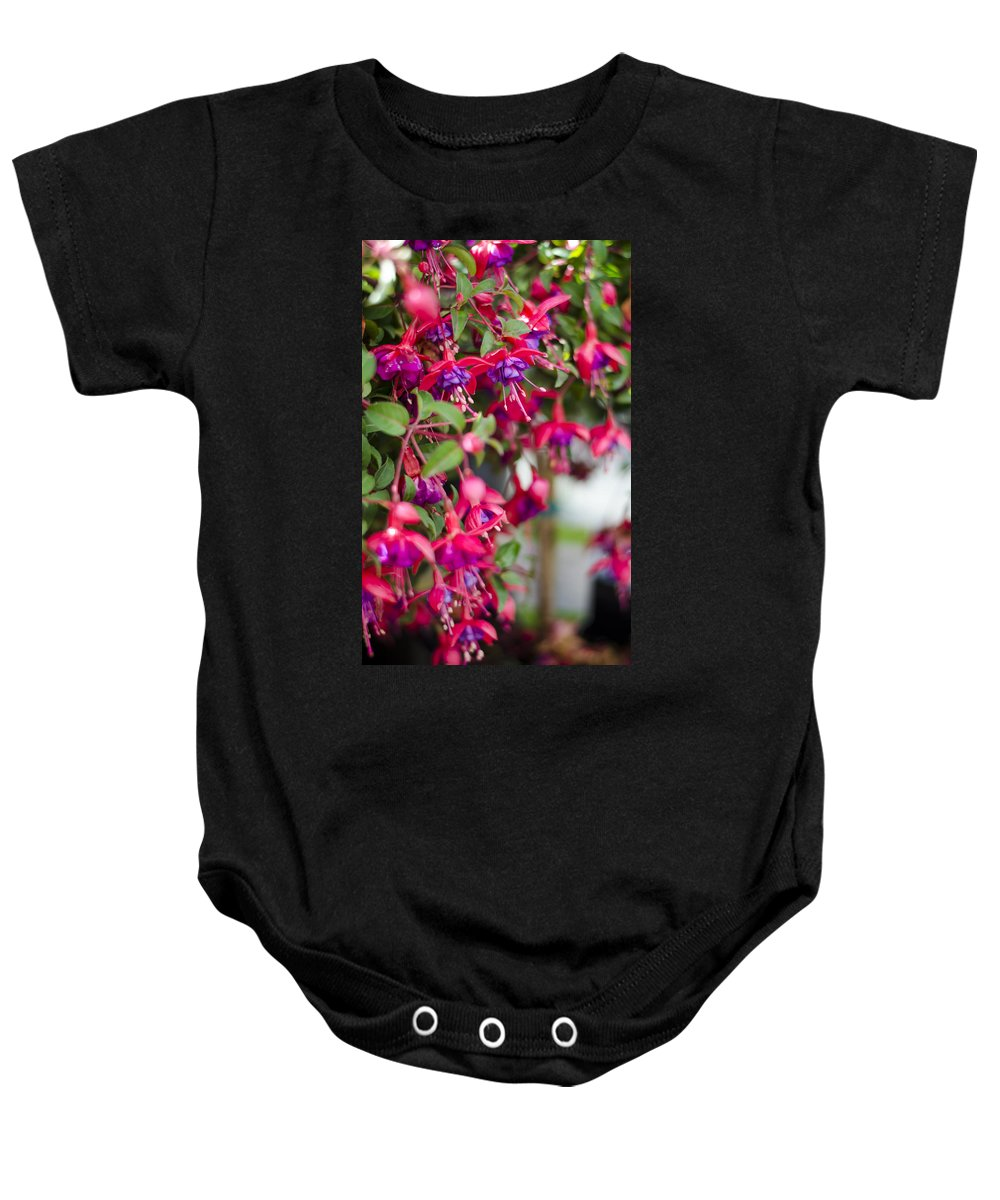 Fuchsia Baby Onesie featuring the photograph Fuchsia Spilling Over by Heather Applegate