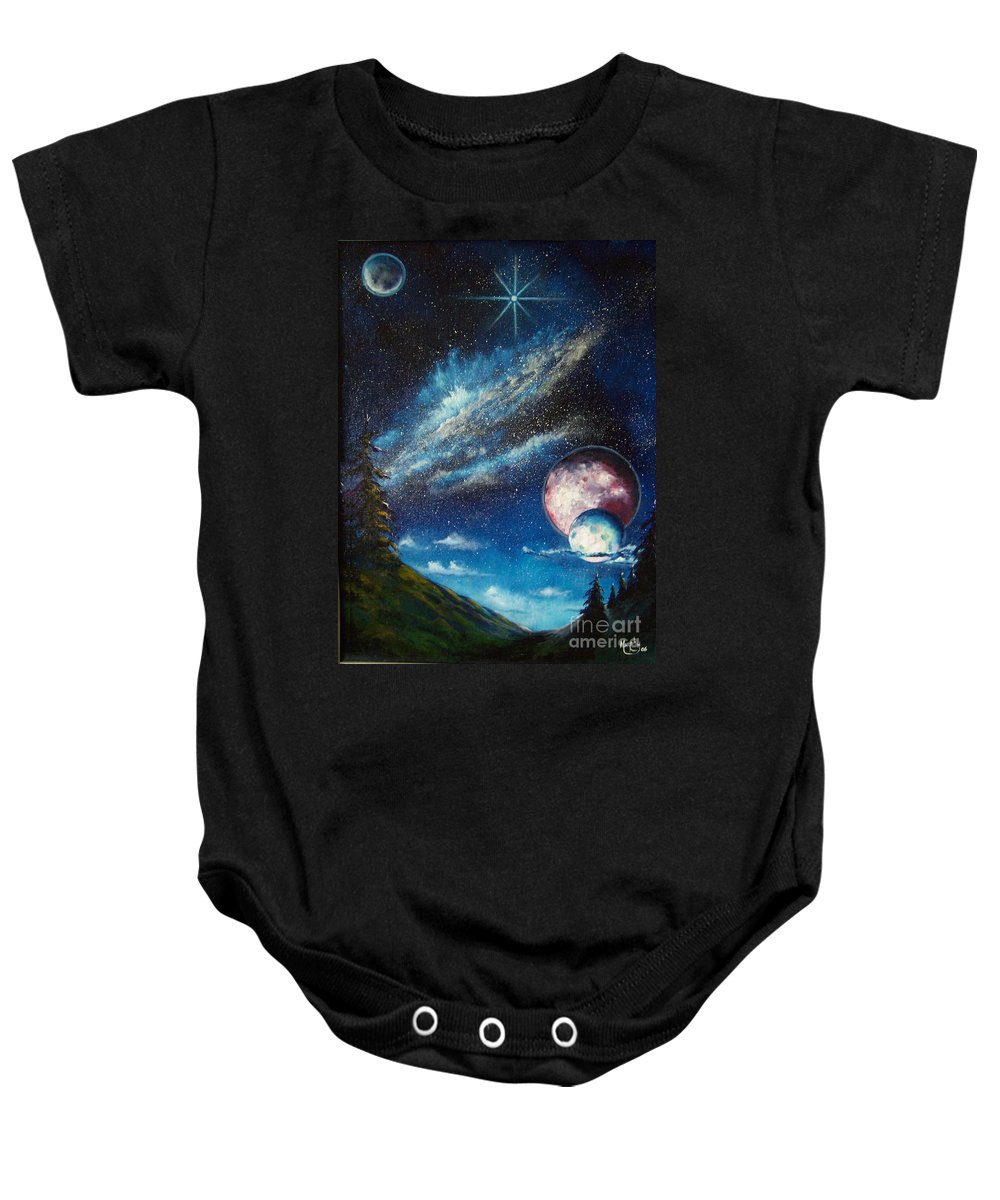 Space Horizon Baby Onesie featuring the painting Galatic Horizon by Murphy Elliott