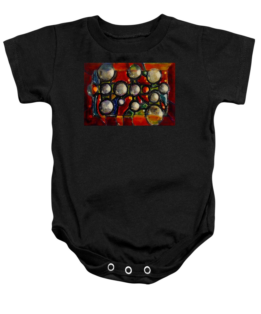 Abstract Baby Onesie featuring the painting Gaps Between Worlds by Marcello Cicchini