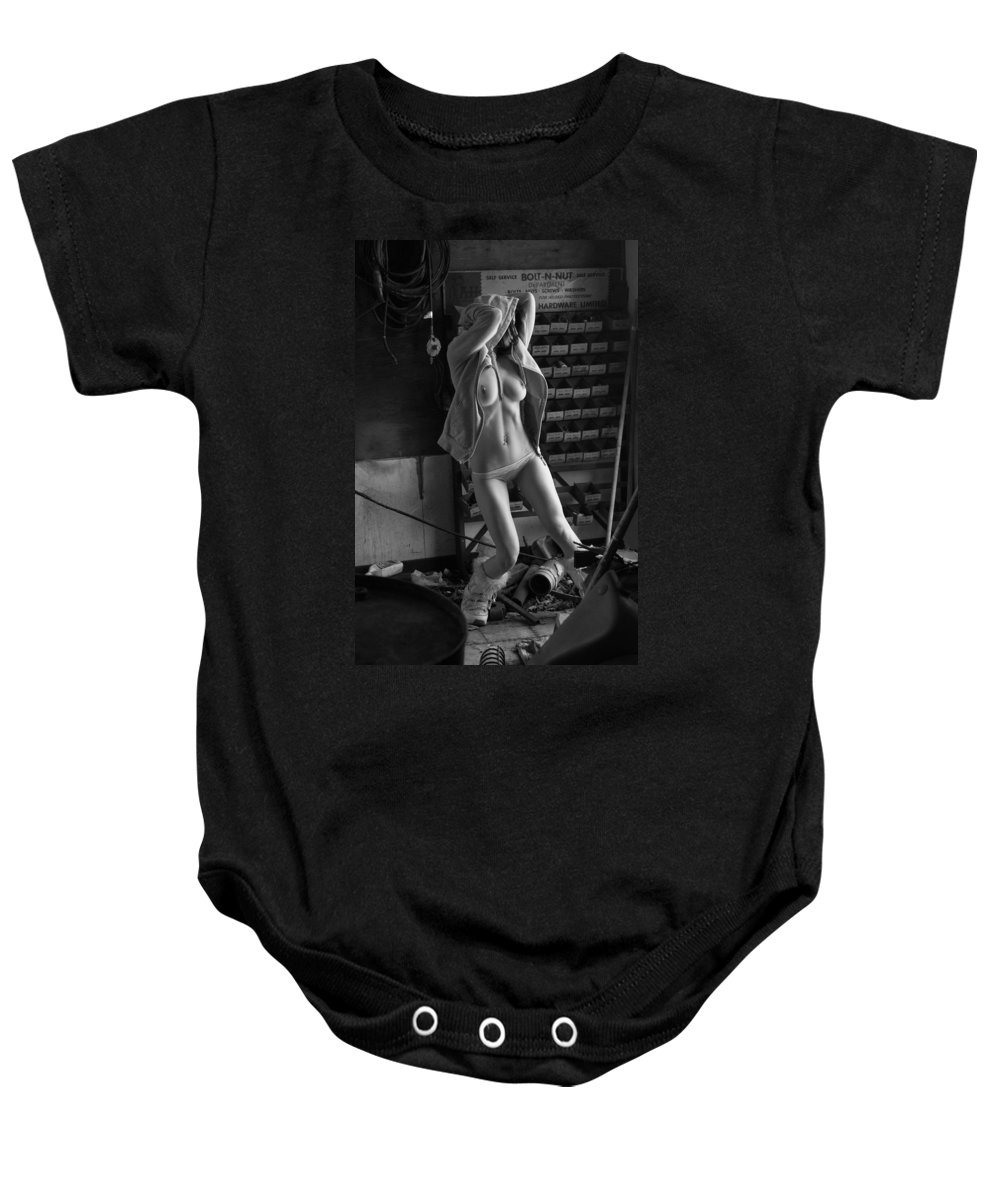 Blue Muse Fine Art Baby Onesie featuring the photograph Garage by Blue Muse Fine Art