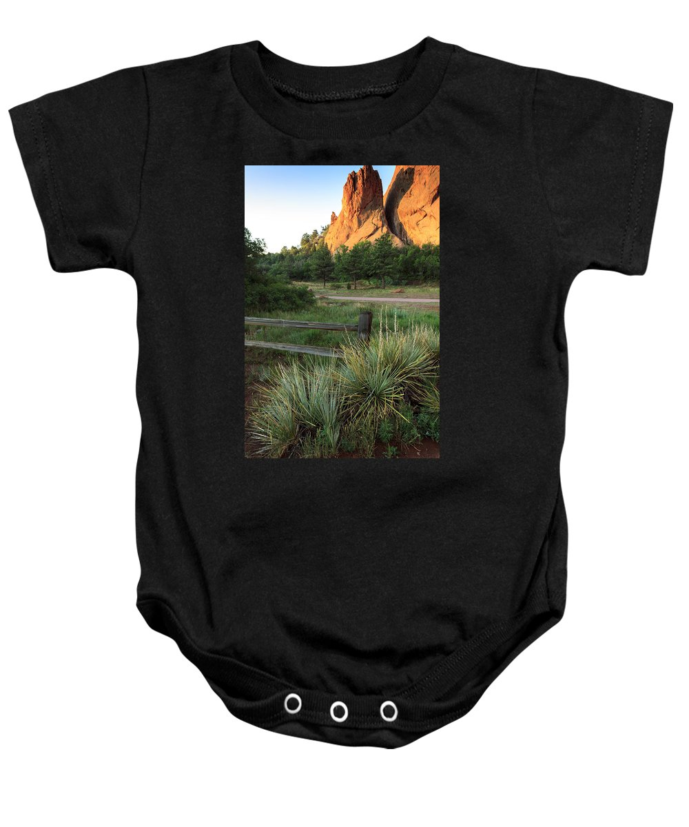 American West Baby Onesie featuring the photograph Garden Of The Gods In Morning Sun by Richard Smith
