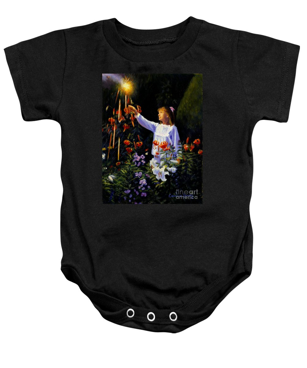 Garden Baby Onesie featuring the painting Garden Sparks by Candace Lovely