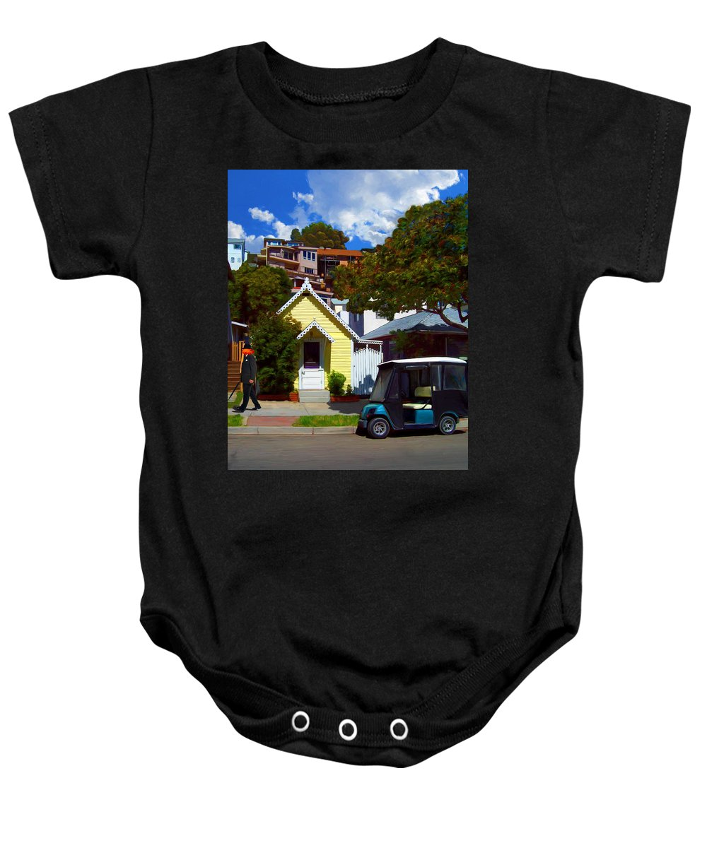 Catalina Baby Onesie featuring the painting Gary Baldie Takes A Walk by Snake Jagger