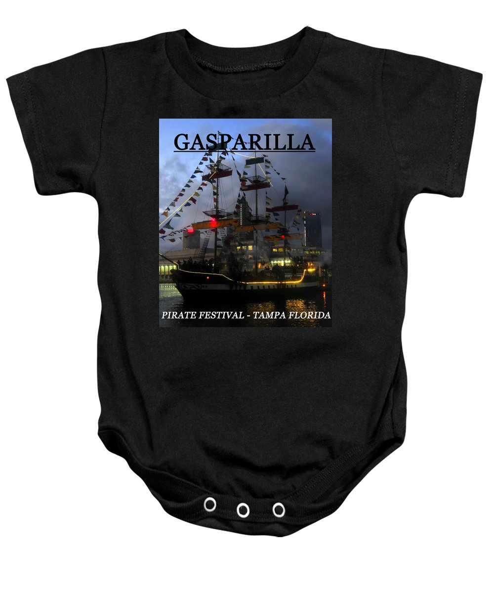 Jose Gasparilla Baby Onesie featuring the photograph Gasparilla Ship Print Work C by David Lee Thompson