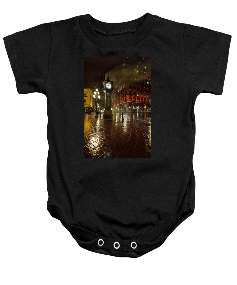 Gastown Baby Onesie featuring the photograph Gastown Steam Clock On A Rainy Night Vertical by Jit Lim