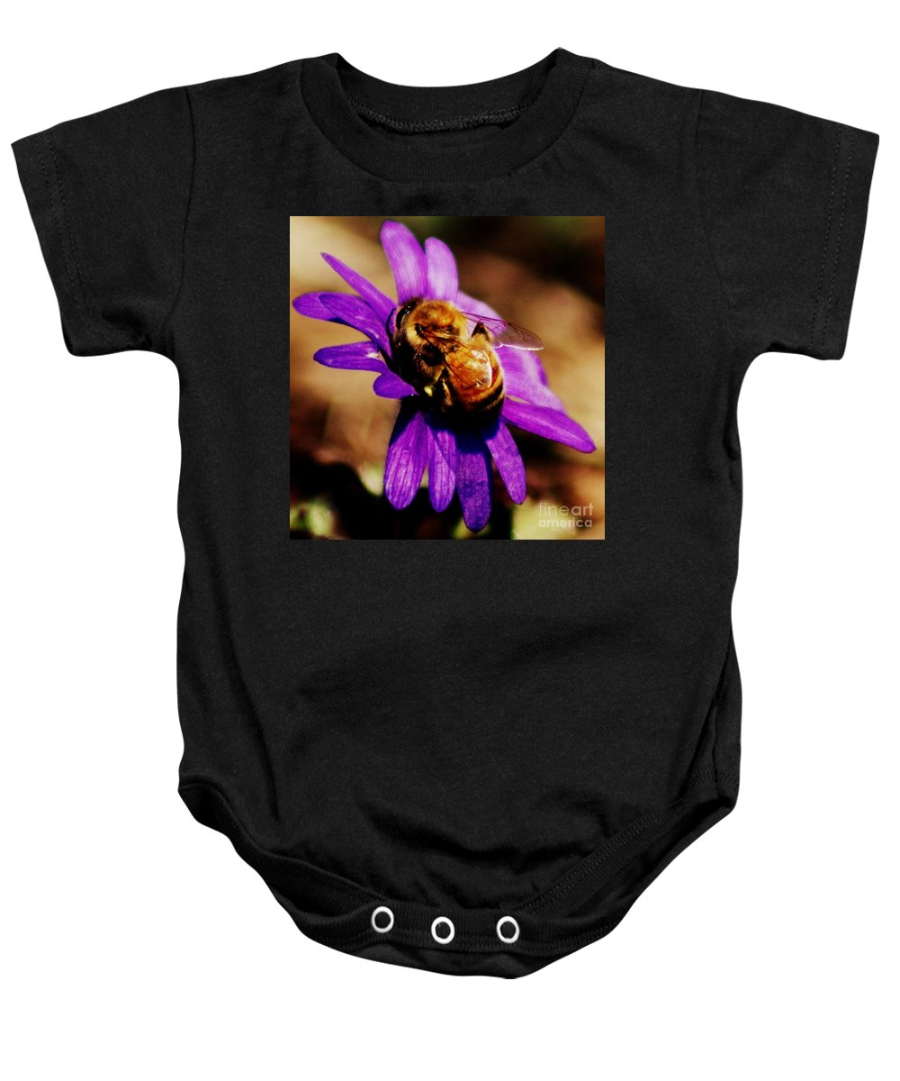 Honeybee On Flower Baby Onesie featuring the photograph Gathering by Kitrina Arbuckle