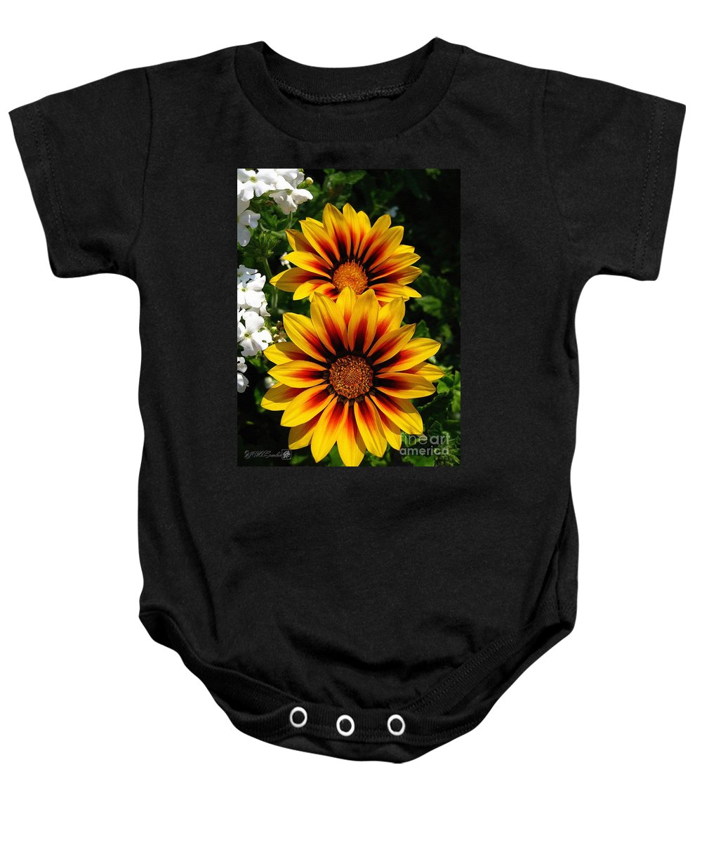 Mccombie Baby Onesie featuring the painting Gazania Named Kiss Yellow Flame by J McCombie