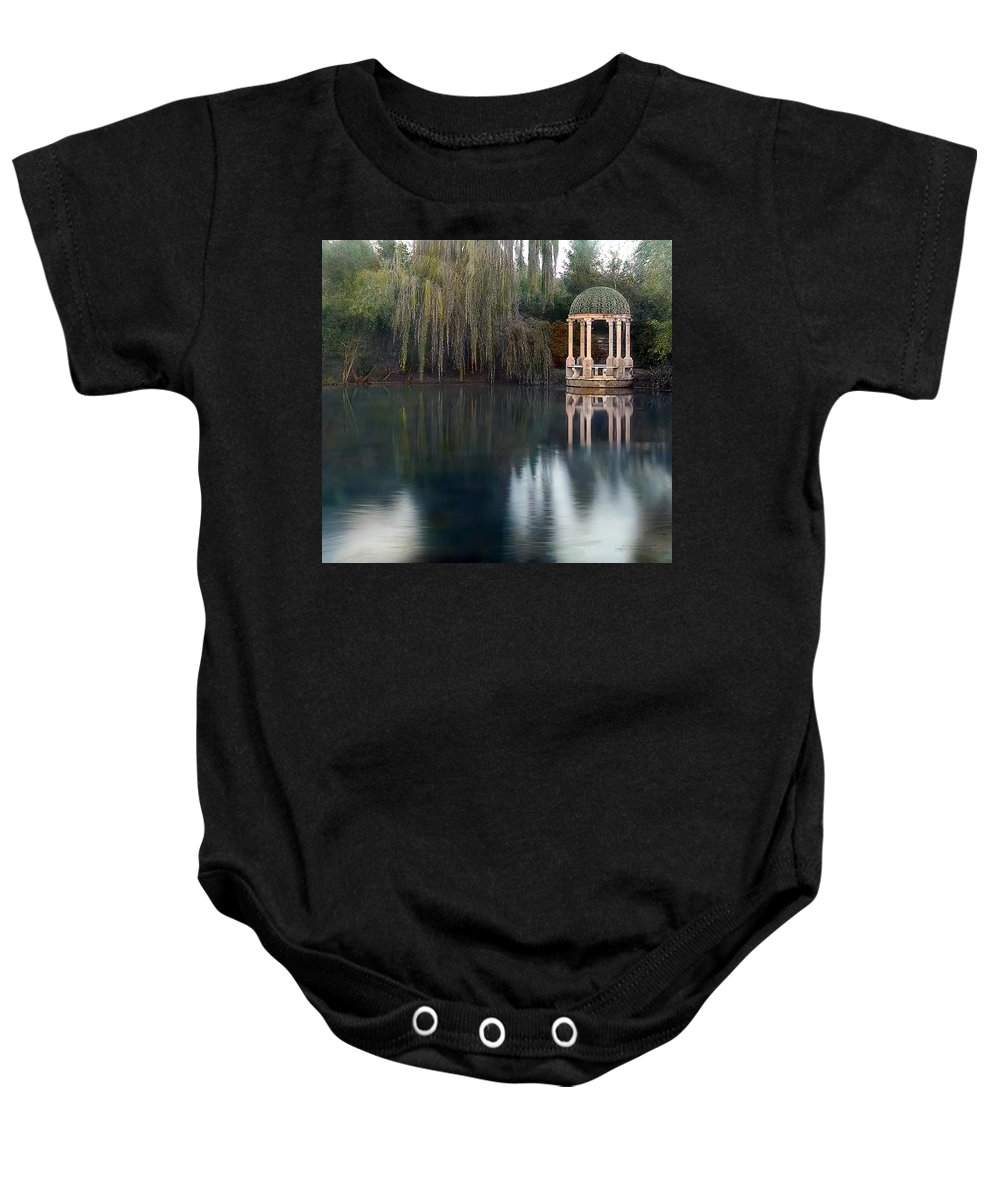 Tranquil Baby Onesie featuring the photograph Gazebo And Lake by Terry Reynoldson