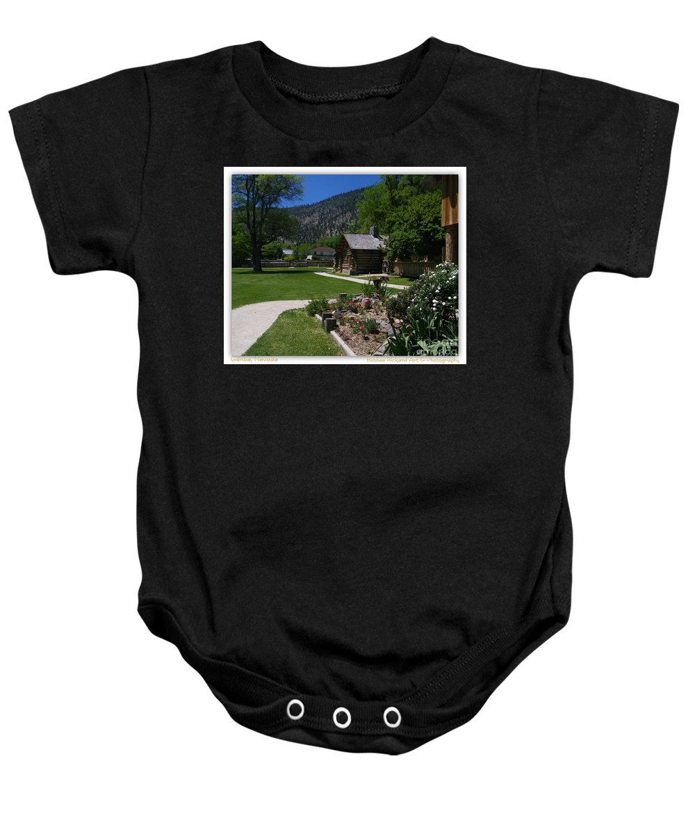 Log Cabin Baby Onesie featuring the photograph Genoa Log Cabin by Bobbee Rickard