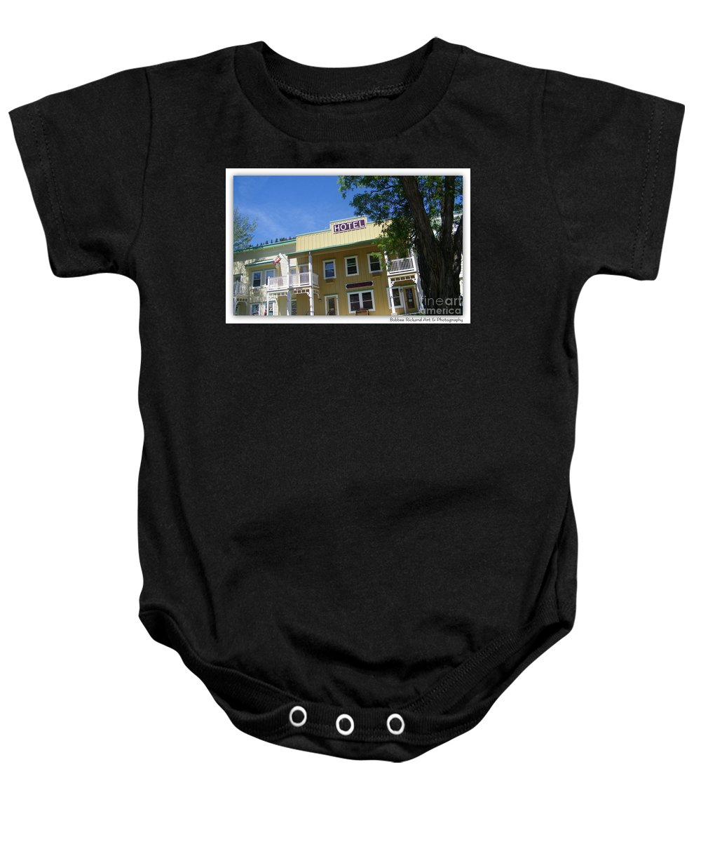 Vintage Baby Onesie featuring the photograph Genoa Vintage Hotel by Bobbee Rickard