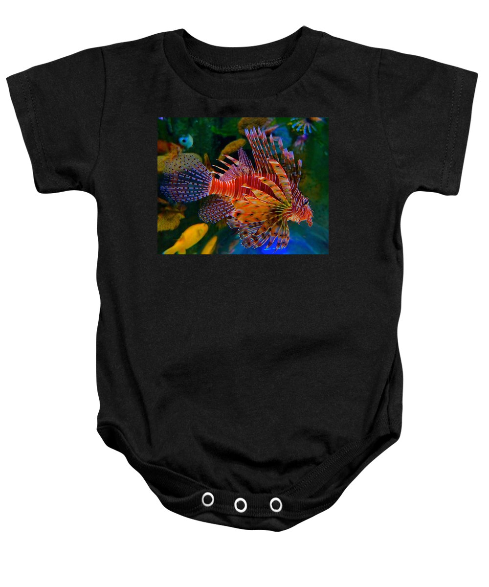 Lionfish Baby Onesie featuring the photograph Gentle Danger by Tim G Ross