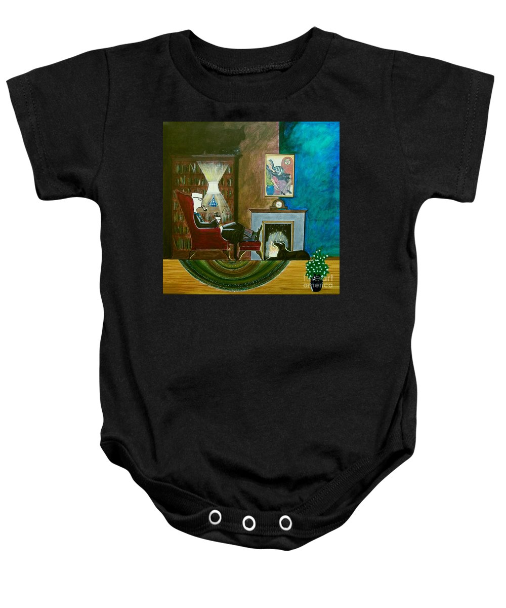 Johnlyes Baby Onesie featuring the painting Gentleman Sitting In Wingback Chair Enjoying A Brandy by John Lyes
