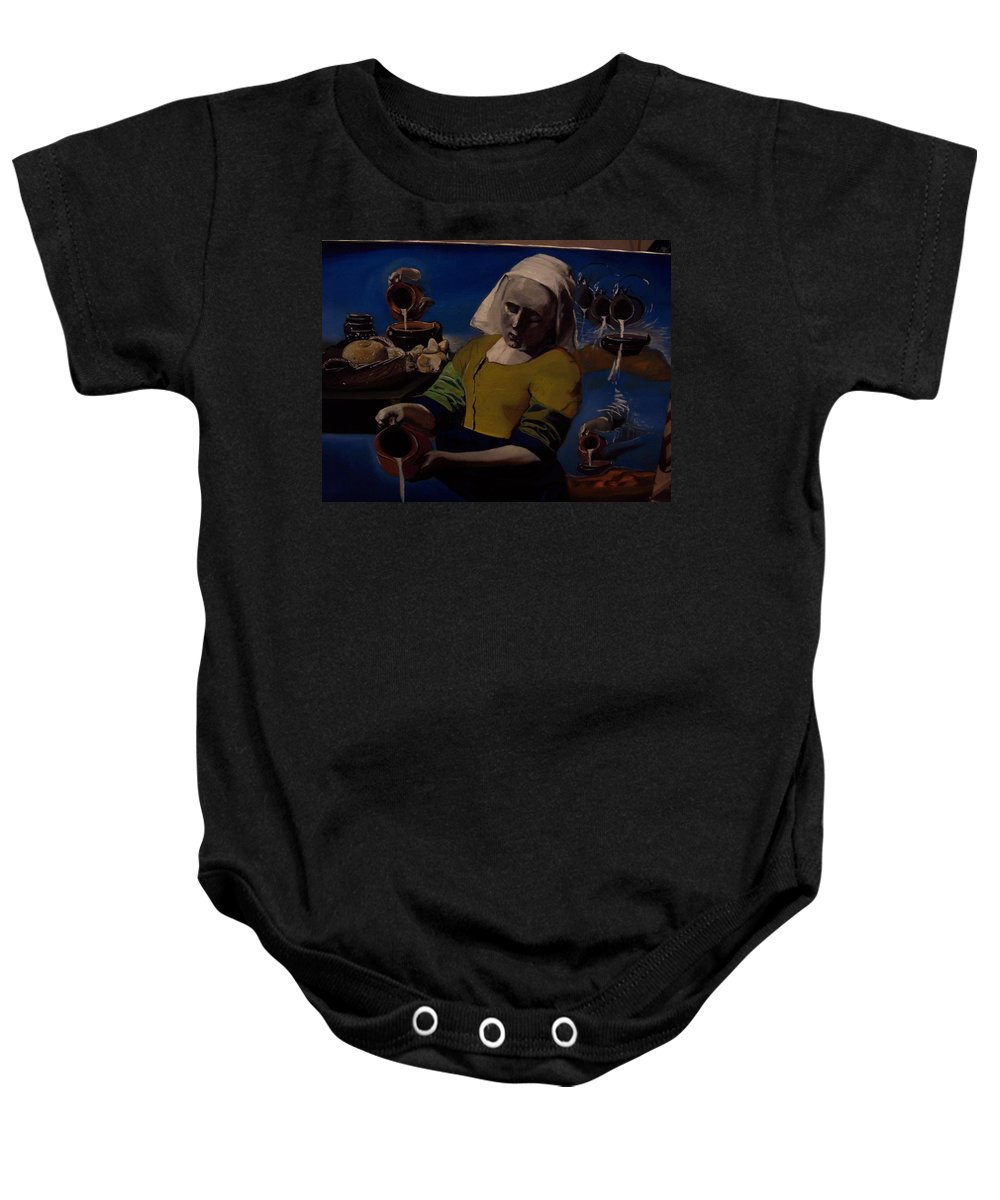Baby Onesie featuring the painting Geological Milk Maid Anthropomorphasized by Jude Darrien
