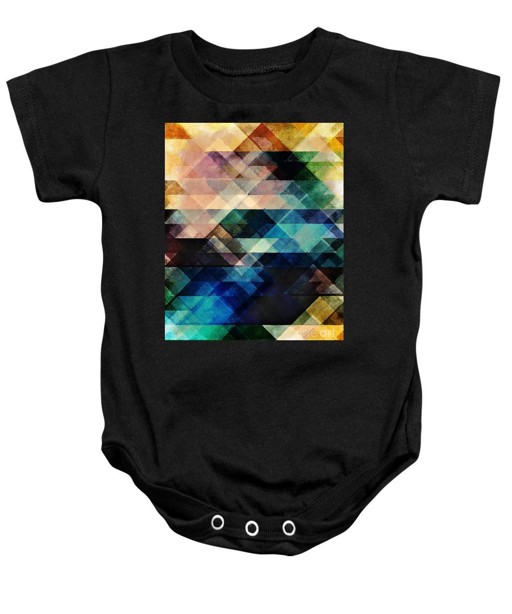 Texture Baby Onesie featuring the digital art Geometric Textural Colorations by Phil Perkins