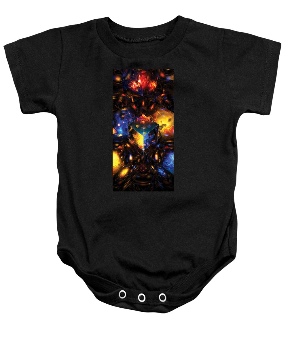 Abstract Baby Onesie featuring the digital art Geometry Amid Chaos Lights by James Kramer